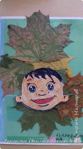 """Сегодня на уроке  трудового обучения  с ребятами 3 """"А"""" класса  работали  с осенними листьями по теме """" Осень в лесу""""   У всех ребят получились вот такие красивые работы!!! фото 11"""
