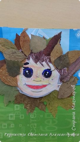 """Сегодня на уроке  трудового обучения  с ребятами 3 """"А"""" класса  работали  с осенними листьями по теме """" Осень в лесу""""   У всех ребят получились вот такие красивые работы!!! фото 12"""