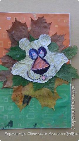 """Сегодня на уроке  трудового обучения  с ребятами 3 """"А"""" класса  работали  с осенними листьями по теме """" Осень в лесу""""   У всех ребят получились вот такие красивые работы!!! фото 13"""