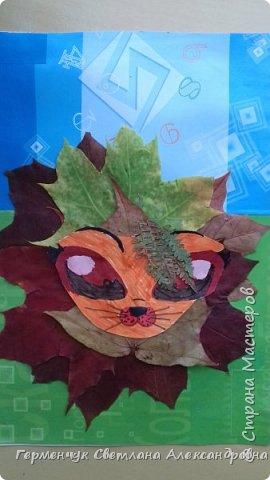 """Сегодня на уроке  трудового обучения  с ребятами 3 """"А"""" класса  работали  с осенними листьями по теме """" Осень в лесу""""   У всех ребят получились вот такие красивые работы!!! фото 14"""