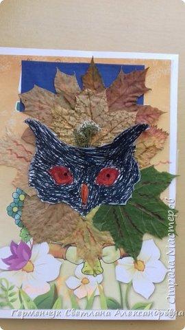"""Сегодня на уроке  трудового обучения  с ребятами 3 """"А"""" класса  работали  с осенними листьями по теме """" Осень в лесу""""   У всех ребят получились вот такие красивые работы!!! фото 18"""