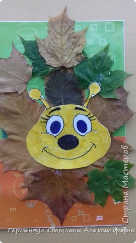 """Сегодня на уроке  трудового обучения  с ребятами 3 """"А"""" класса  работали  с осенними листьями по теме """" Осень в лесу""""   У всех ребят получились вот такие красивые работы!!! фото 19"""
