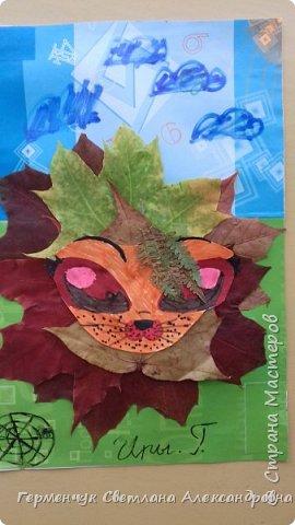 """Сегодня на уроке  трудового обучения  с ребятами 3 """"А"""" класса  работали  с осенними листьями по теме """" Осень в лесу""""   У всех ребят получились вот такие красивые работы!!! фото 1"""