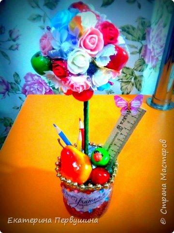 Наступил день учителя! и как не порадовать учителя своей первоклашки. Дарить цветы и конфеты не очень хотелось, поэтому быстро, даже очень быстро в течении двух дней, был сделан этот топиарий! Благо материалы все были в наличии)) фото 1