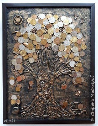 Здравствуйте мастера и мастерицы! Много денежных деревьев  на просторах интернета, вот и мне захотелось порадовать себя. Это денежное дерево я сделала в подарок на 8 марта. Огромное спасибо всем мастерам за подробный мастер-класс!!! Тани Сорокиной в МК скручивания жгутиков (http://stranamasterov.ru/node/308701), m_a_r_i_n_a http://stranamasterov.ru/node/578436?c=favorite_c. Размер панно-картины 30х40. фото 12