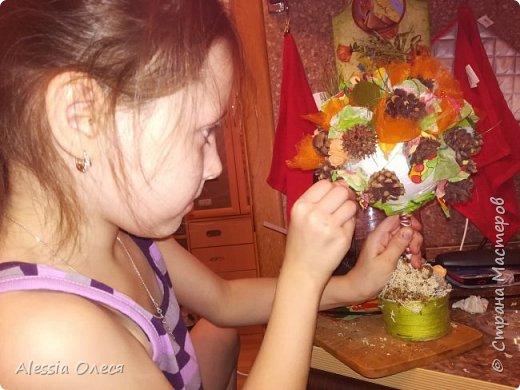 Добрый день! А мы с доченькой сегодня со школьной осенней поделкой из природных материалов. Решили сделать топиарий.  фото 3