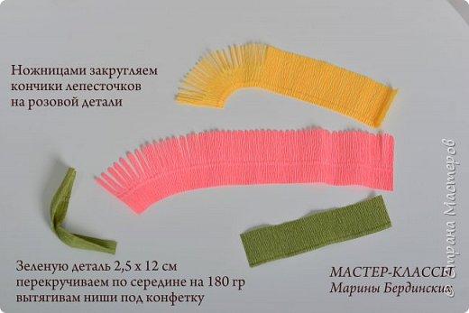 Здравствуйте, дорогие мастерицы. Сегодня хочу рассказать и показать вам как сделать цветок бессмертник из гофрированной бумаги с конфеткой. фото 6