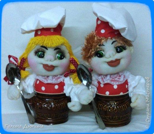 Не так давно начала шить кукол на кухонную тему.Очень нравится!Куколки служат для украшения нашей кухни,они будут нас радовать своим добрым,ласковым взглядом и дарить нам хорошее настроение.Данные поварята мальчик и девочка проживают в Улан-Удэ фото 1
