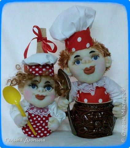 Не так давно начала шить кукол на кухонную тему.Очень нравится!Куколки служат для украшения нашей кухни,они будут нас радовать своим добрым,ласковым взглядом и дарить нам хорошее настроение.Данные поварята мальчик и девочка проживают в Улан-Удэ фото 5