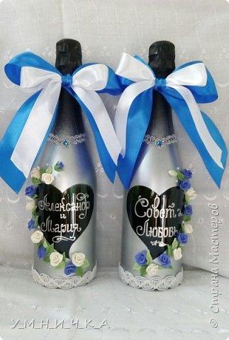 Бутылки сделаны как всегда в моём стиле))) Холодный фарфор, стразы, ленты. фото 1