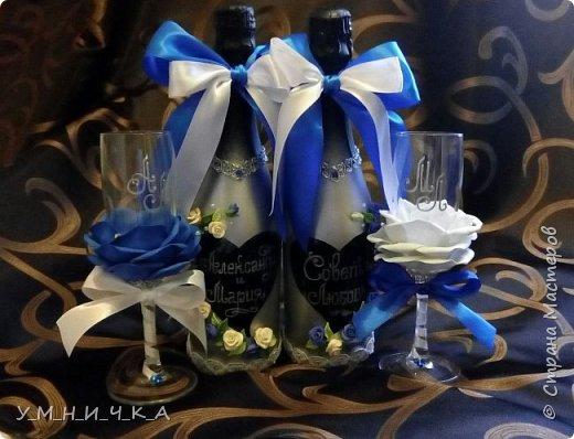 Бутылки сделаны как всегда в моём стиле))) Холодный фарфор, стразы, ленты. фото 3