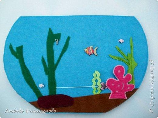 """Сшила для малышей из фетра игру """"Аквариум"""". Размеры самого аквариума 30/21. Первая сторона в собранном виде.  фото 6"""
