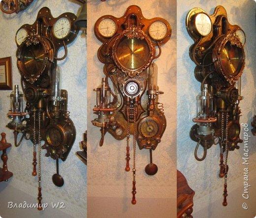 """Доброго времени суток, дамы - господа и другие формы жизни! Разрешите предложить вашему вниманию часы-ходики """"Эквилибриум"""". В русском языке есть схожее, однокоренное слово «эквилибр» или «экилибр», что означает - «равновесие».  Для работы понадобятся; манометры, обломки бытовых приборов, механизмы от часов, шестерёнки, кожа, оргалит, пенопанель (10 мм.)  фото 25"""