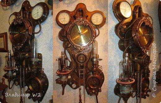 """Доброго времени суток, дамы - господа и другие формы жизни! Разрешите предложить вашему вниманию часы-ходики """"Эквилибриум"""". В русском языке есть схожее, однокоренное слово «эквилибр» или «экилибр», что означает - «равновесие».  Для работы понадобятся; манометры, обломки бытовых приборов, механизмы от часов, шестерёнки, кожа, оргалит, пенопанель (10 мм.)  фото 26"""