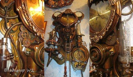 """Доброго времени суток, дамы - господа и другие формы жизни! Разрешите предложить вашему вниманию часы-ходики """"Эквилибриум"""". В русском языке есть схожее, однокоренное слово «эквилибр» или «экилибр», что означает - «равновесие».  Для работы понадобятся; манометры, обломки бытовых приборов, механизмы от часов, шестерёнки, кожа, оргалит, пенопанель (10 мм.)  фото 27"""