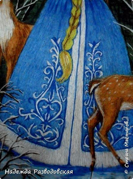 """Картина """"Хозяйка беловежской пущи"""" вышита гладью синтетическими нитками.  фото 7"""