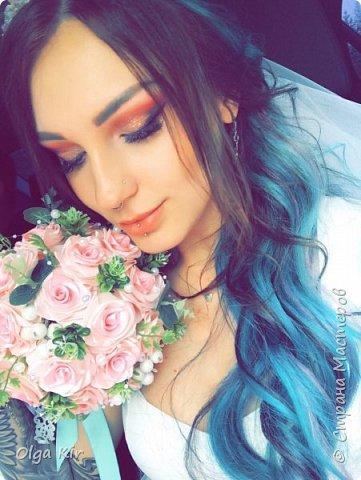 Приветствую вас дорогие мастера и рукодельницы!  Сегодня у меня небольшой  свадебный комплект, и очень захотелось показать саму невесту. Красивая, креативная, я балдею от  Ее образа и энергетики)))   фото 1