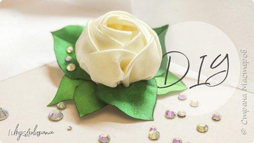 Роза из атласных лент на зажимах | канзаши