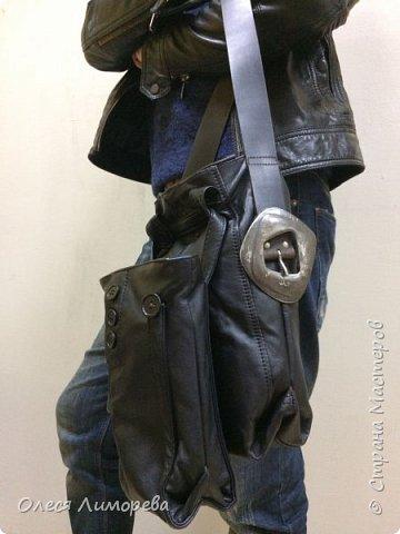 Мужская сумка 2в1 из кожаного плаща. 2 Часть