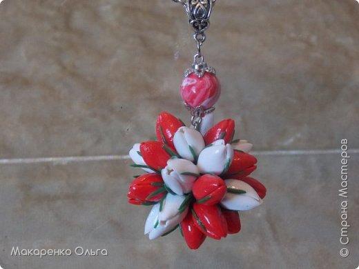 Украшение-подвеска и браслет  на цепочке из запекаемой полимерной глины(миниатюрные тюльпаны) фото 1