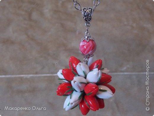 Украшение-подвеска и браслет  на цепочке из запекаемой полимерной глины(миниатюрные тюльпаны) фото 2