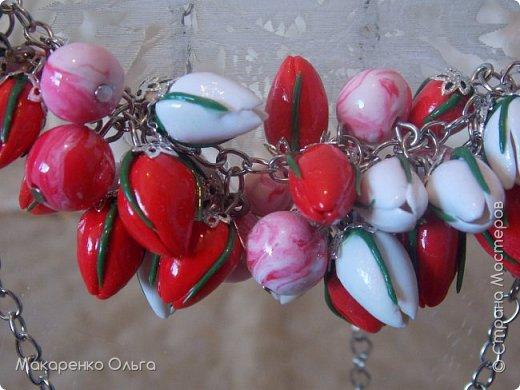 Украшение-подвеска и браслет  на цепочке из запекаемой полимерной глины(миниатюрные тюльпаны) фото 4
