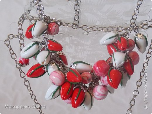 Украшение-подвеска и браслет  на цепочке из запекаемой полимерной глины(миниатюрные тюльпаны) фото 5