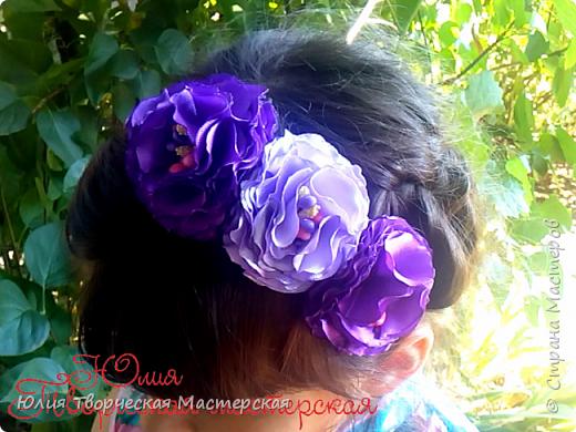 Ободок с пышнымы цветами канзаши из лент 5 см Мастер класс для начинающих