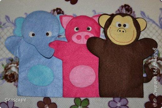 Фетровые игрушки-рукавички фото 2