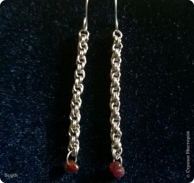Две пары сережек из тонкой нихромовой проволоки. Украшены натуральными камнями. фото 3