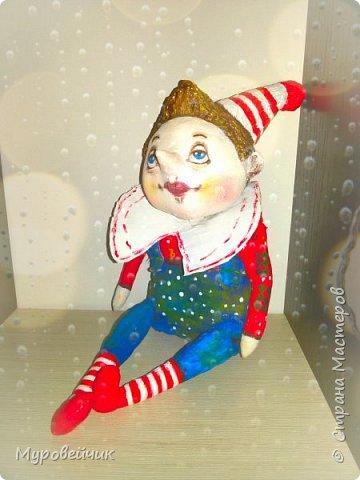 Голова-папье маше, тельце-ткань, ручки, ножки двигаются, роспись-акриловые краски фото 3