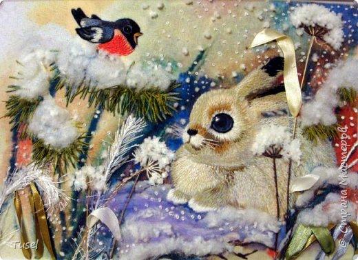 Зайчик в снежном лесу