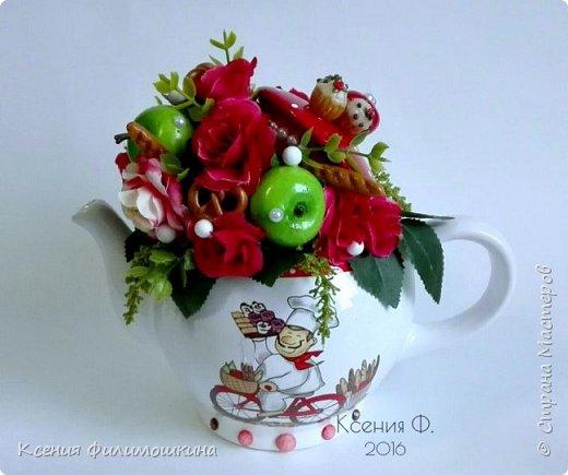 Цветочная композиция в чайнике фото 1