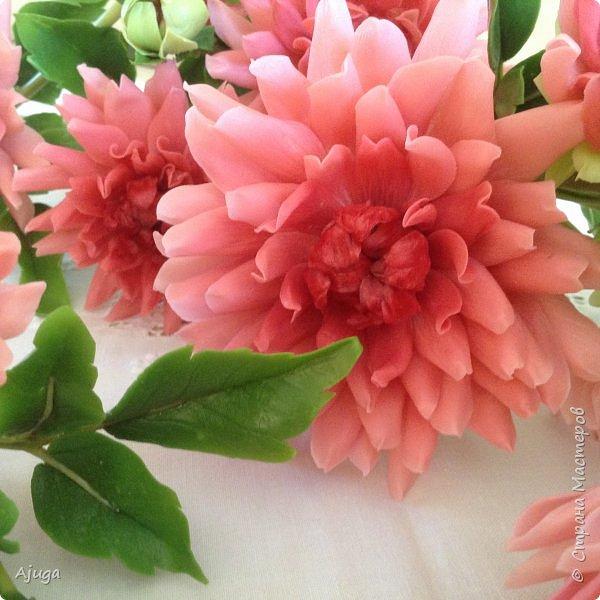 Интерьерные цветы ручной работы . Георгины из холодного фарфора. фото 8