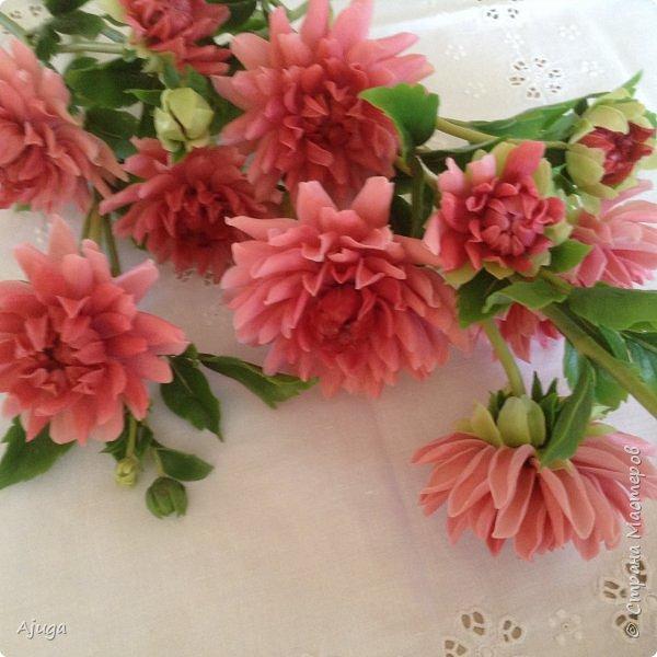 Интерьерные цветы ручной работы . Георгины из холодного фарфора. фото 9
