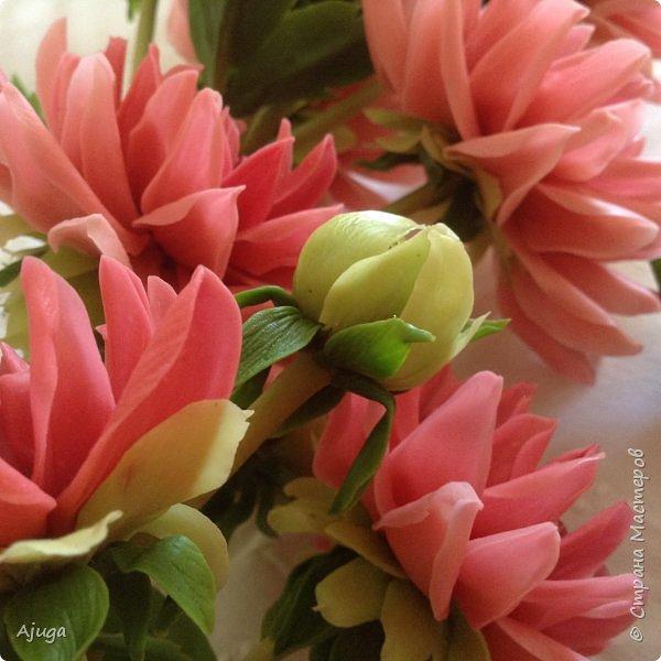 Интерьерные цветы ручной работы . Георгины из холодного фарфора. фото 10