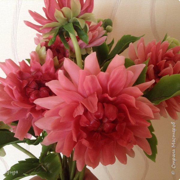Интерьерные цветы ручной работы . Георгины из холодного фарфора. фото 2