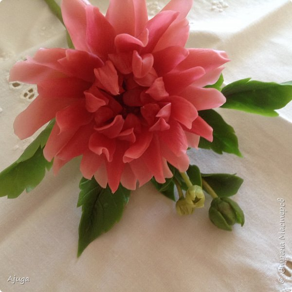 Интерьерные цветы ручной работы . Георгины из холодного фарфора. фото 13