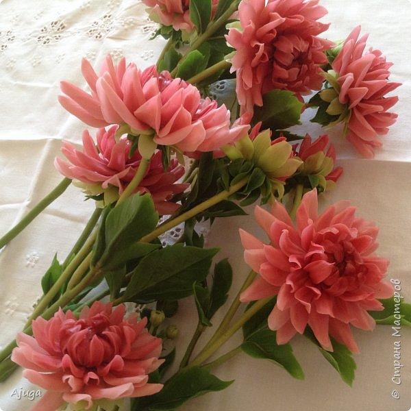Интерьерные цветы ручной работы . Георгины из холодного фарфора. фото 14