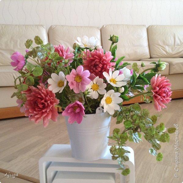 Интерьерные цветы ручной работы . Георгины из холодного фарфора. фото 15