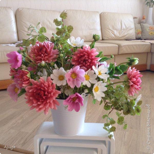 Интерьерные цветы ручной работы . Георгины из холодного фарфора. фото 17