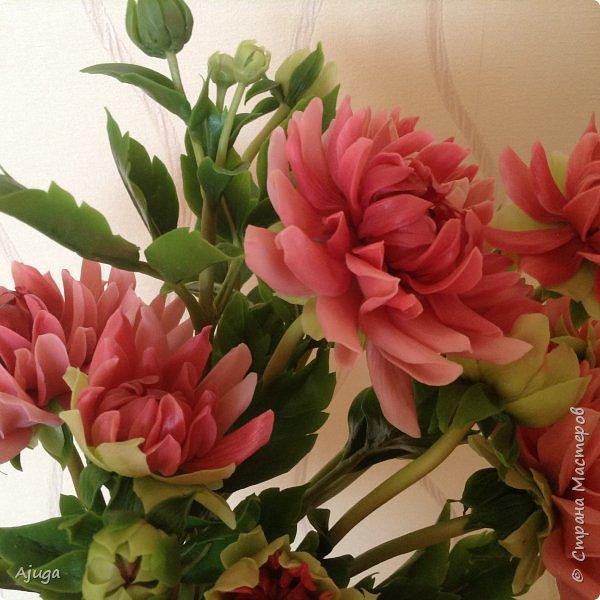 Интерьерные цветы ручной работы . Георгины из холодного фарфора. фото 3