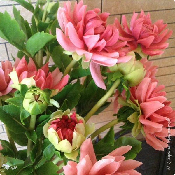 Интерьерные цветы ручной работы . Георгины из холодного фарфора. фото 5