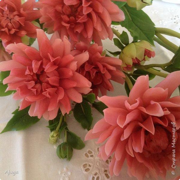 Интерьерные цветы ручной работы . Георгины из холодного фарфора. фото 6