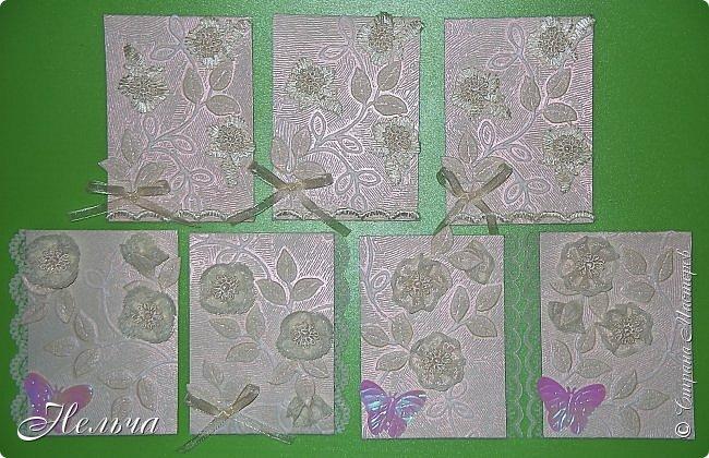 """Карточки красивого, нежного, ванильного цвета, поэтому так и назвала серию """" Ванильная нежность"""". Основа карточек обои, которые Гульназ прислала. Подобрала кружево и ленточки в тон фону. Бабочки прислала Ирина (Ириска2012), они тоже ванильного цвета, переливаются розовым... Конечно это не пейп-арт и не из соленого теста, но может кому-нибудь понравятся)). фото 7"""