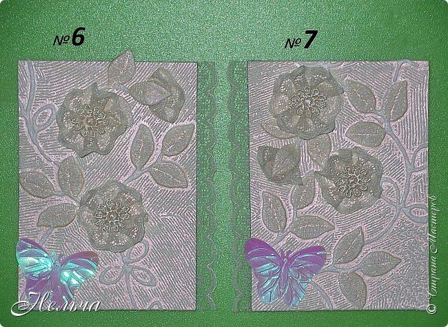 """Карточки красивого, нежного, ванильного цвета, поэтому так и назвала серию """" Ванильная нежность"""". Основа карточек обои, которые Гульназ прислала. Подобрала кружево и ленточки в тон фону. Бабочки прислала Ирина (Ириска2012), они тоже ванильного цвета, переливаются розовым... Конечно это не пейп-арт и не из соленого теста, но может кому-нибудь понравятся)). фото 6"""