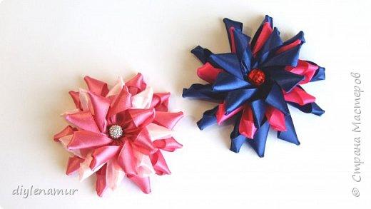 Цветы канзаши из атласной ленты 2,5см. Видео мастер-класс