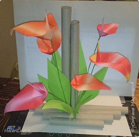 Этот цветок делала для конкурса представления разных стран в день толерантности. Класс сына представлял Японию и эта работа иллюстрировала искусства оригами и икебаны.