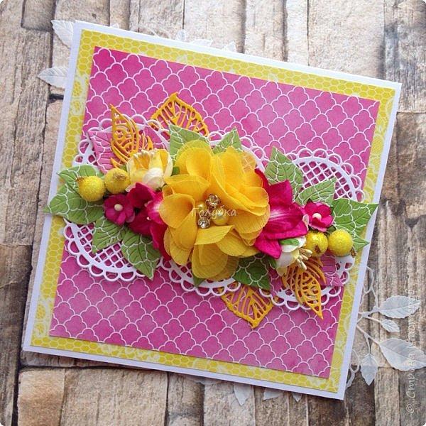Последнее время открытки и конверты были нежных цветов,за редким исключением,  а тут прямо захотелось красок:)  Первой появилась вот такая сочная открытка из бумаги LemonCraft - BASIC Fresh Summer фото 1