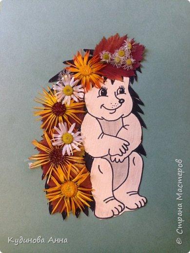 Слелали с младшим сыночком вот такую апликацию из засушенных листочков и цветочков. :)  фото 1